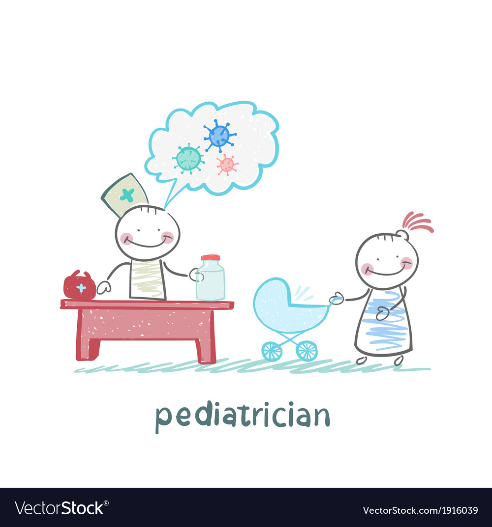 Pediatrician at work listening to her mother with vector | Price: 1 Credit (USD $1)