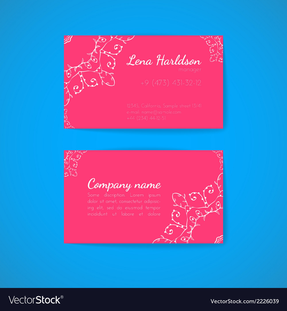 Pink business card template with decorative vector | Price: 1 Credit (USD $1)