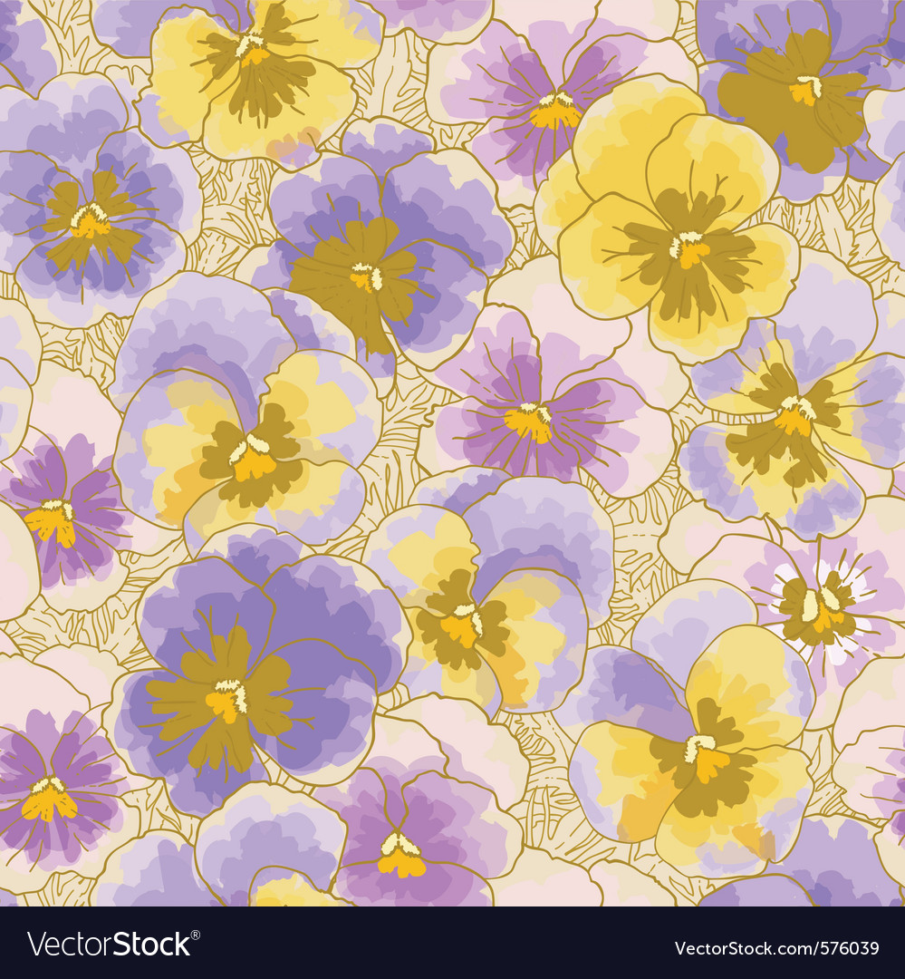 Seamless pattern with pansy vector | Price: 1 Credit (USD $1)