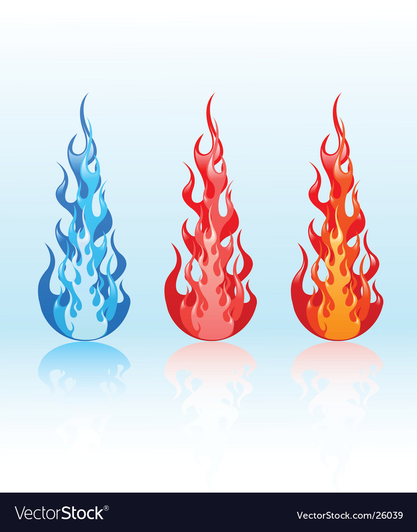 Set of glossy flames vector | Price: 1 Credit (USD $1)