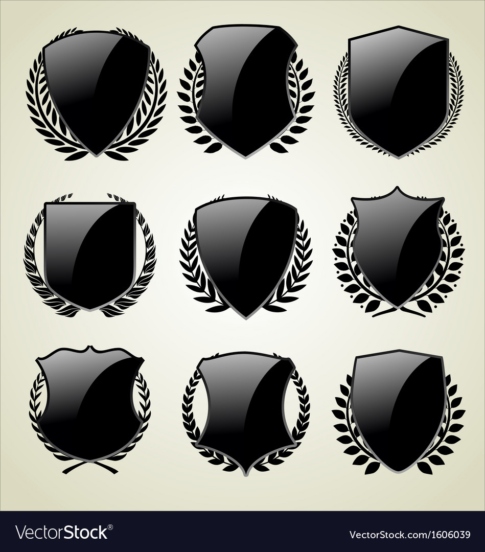 Shield and laurel wreath vector | Price: 1 Credit (USD $1)