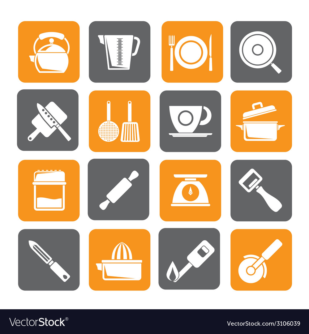 Silhouette kitchen gadgets and equipment icons vector