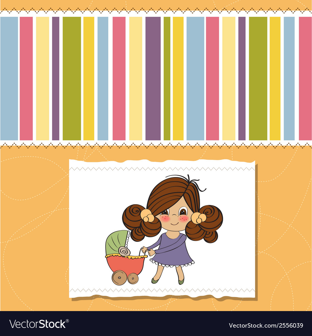 Young lady and pram vector | Price: 1 Credit (USD $1)