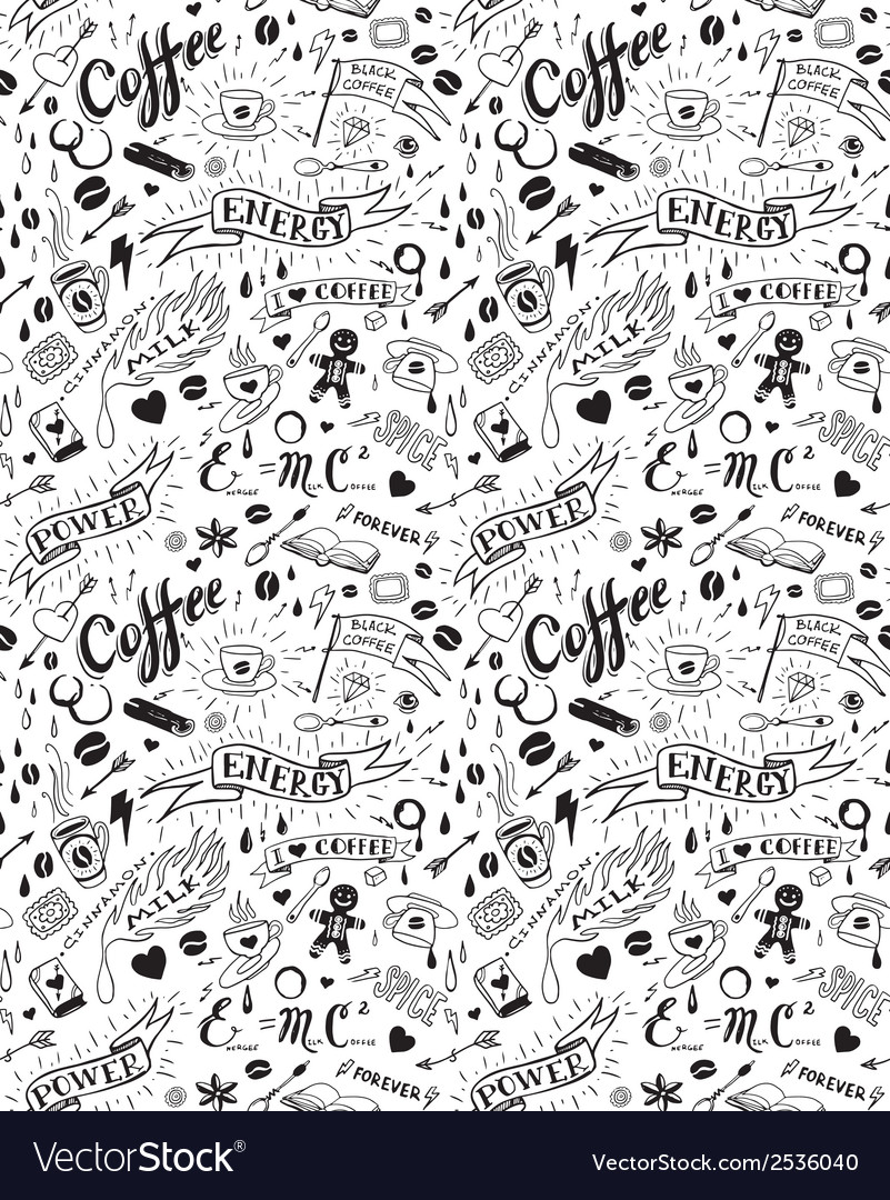 Coffee seamless pattern in tattoo style vector | Price: 1 Credit (USD $1)