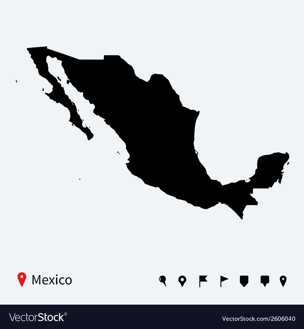High detailed map of mexico with navigation pins vector | Price: 1 Credit (USD $1)