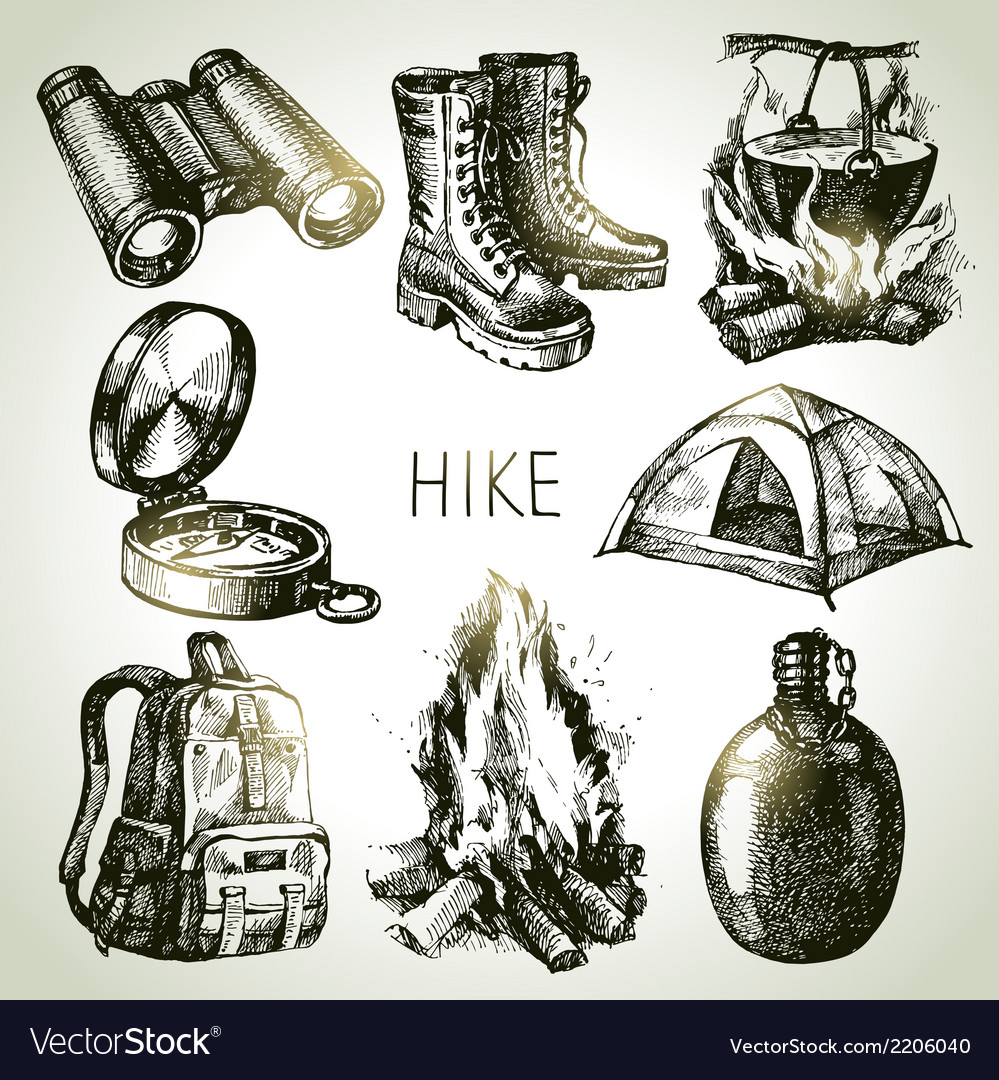 Hike and camping tourism hand drawn set vector | Price: 1 Credit (USD $1)