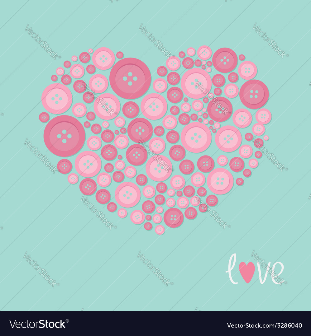 Pink heart made from buttons love card flat design vector | Price: 1 Credit (USD $1)