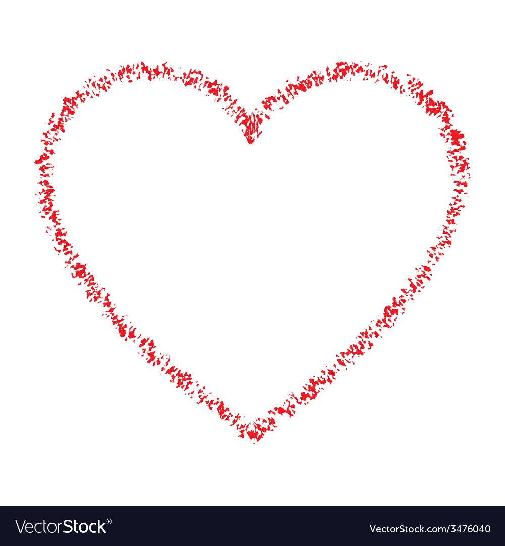 Red hand drawn contour thin grunge heart vector | Price: 1 Credit (USD $1)