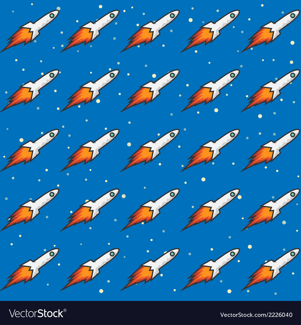 Seamless childish pattern with rockets and flame vector | Price: 1 Credit (USD $1)
