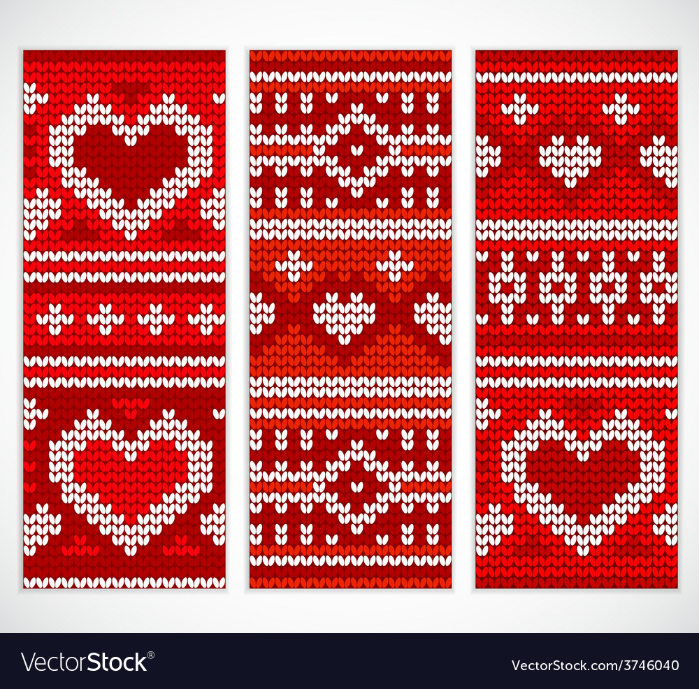 Set of seamless knitted banners with hearts vector | Price: 1 Credit (USD $1)