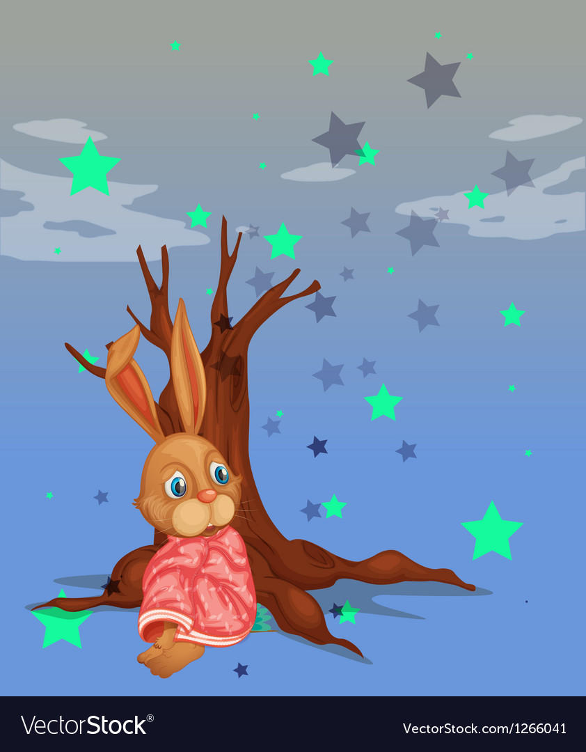 A bunny beside a big tree without leaves vector | Price: 1 Credit (USD $1)
