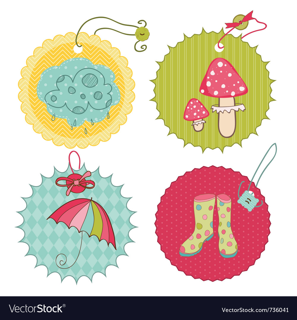 Autumn cute tags - for scrapbook design invitation vector | Price: 1 Credit (USD $1)