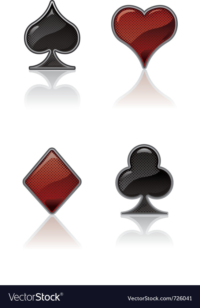 Black and red card suit icons vector | Price: 1 Credit (USD $1)