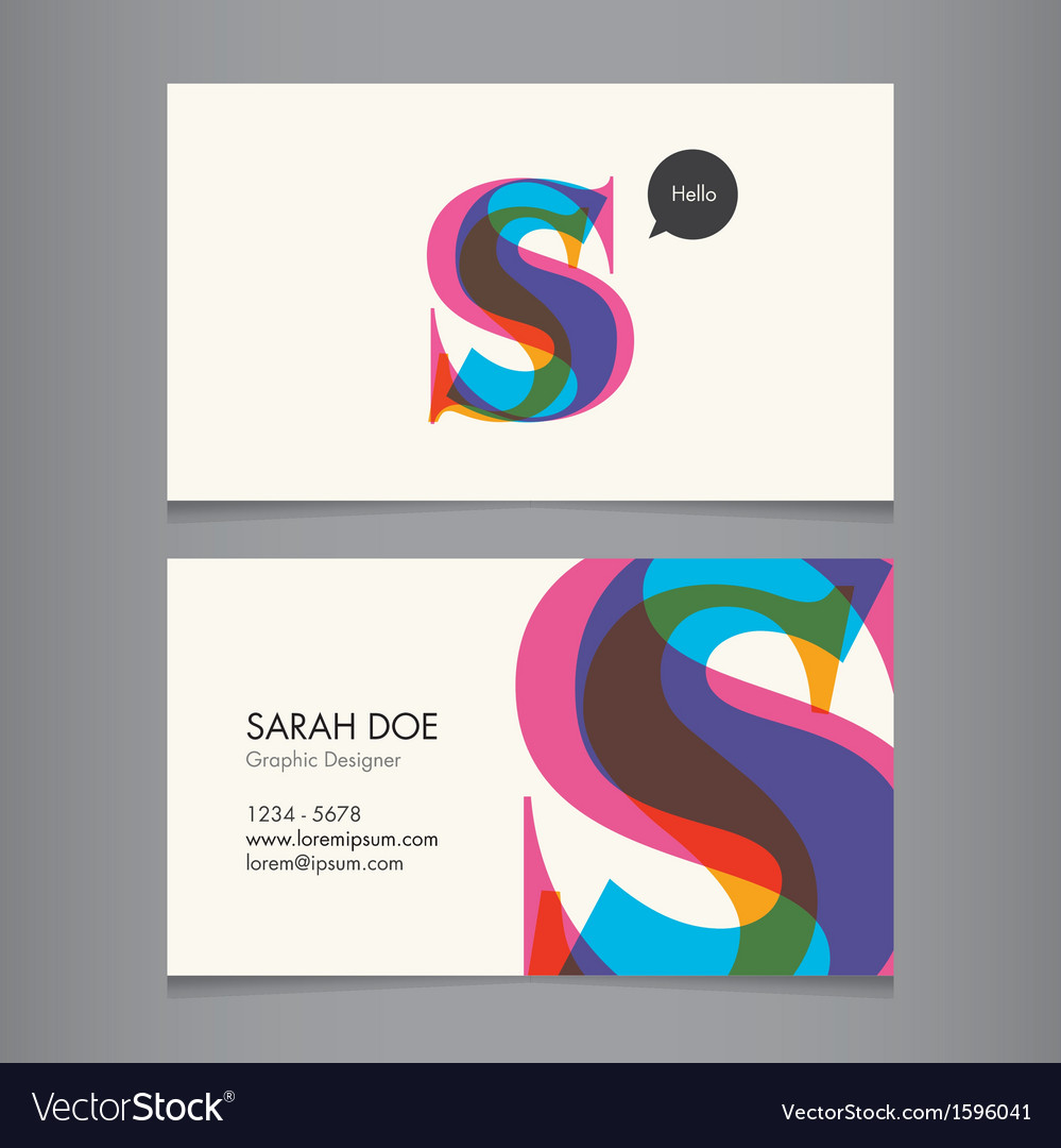 Business card template letter s vector | Price: 1 Credit (USD $1)