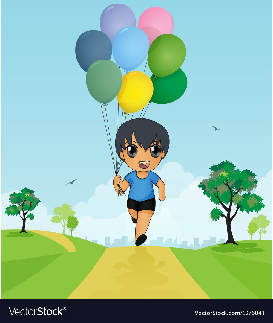 Child holding balloons vector | Price: 1 Credit (USD $1)