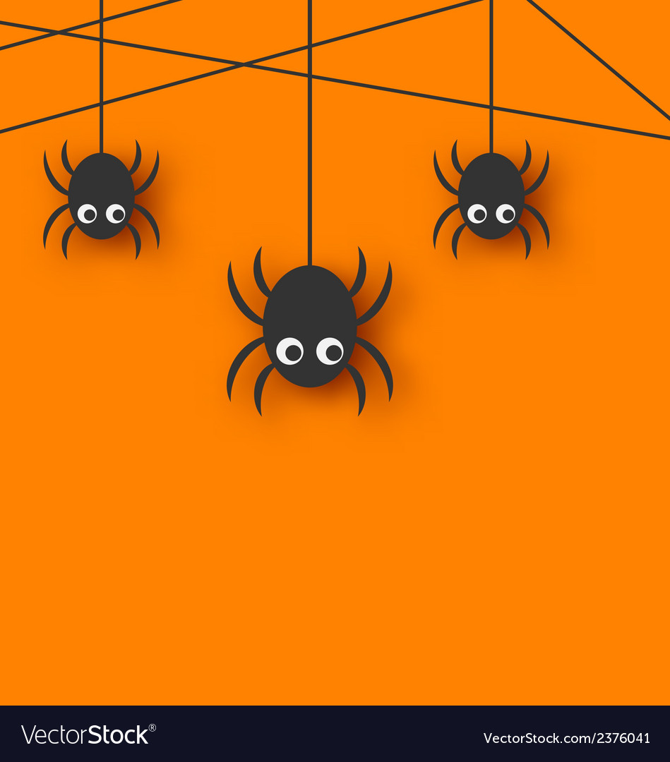 Cute funny spiders and cobweb vector | Price: 1 Credit (USD $1)