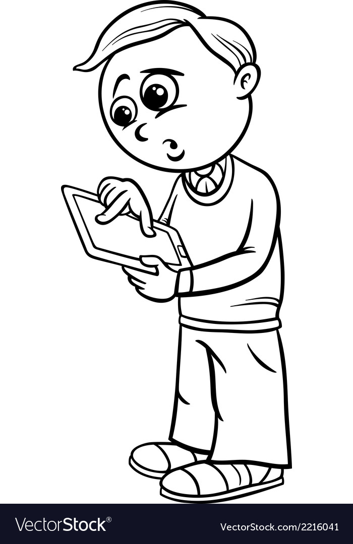 Grade school boy cartoon coloring page vector | Price: 1 Credit (USD $1)