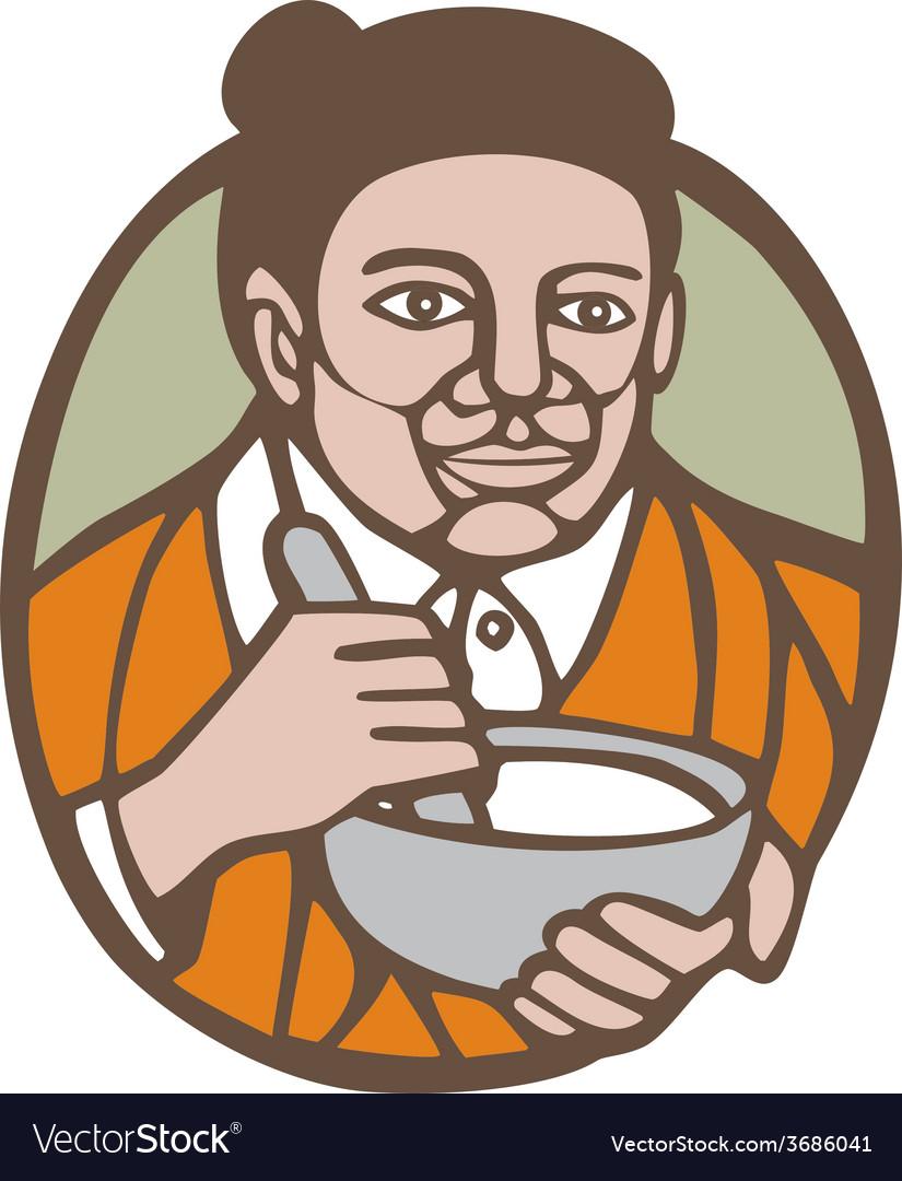 Granny cook mixing bowl oval retro vector   Price: 1 Credit (USD $1)