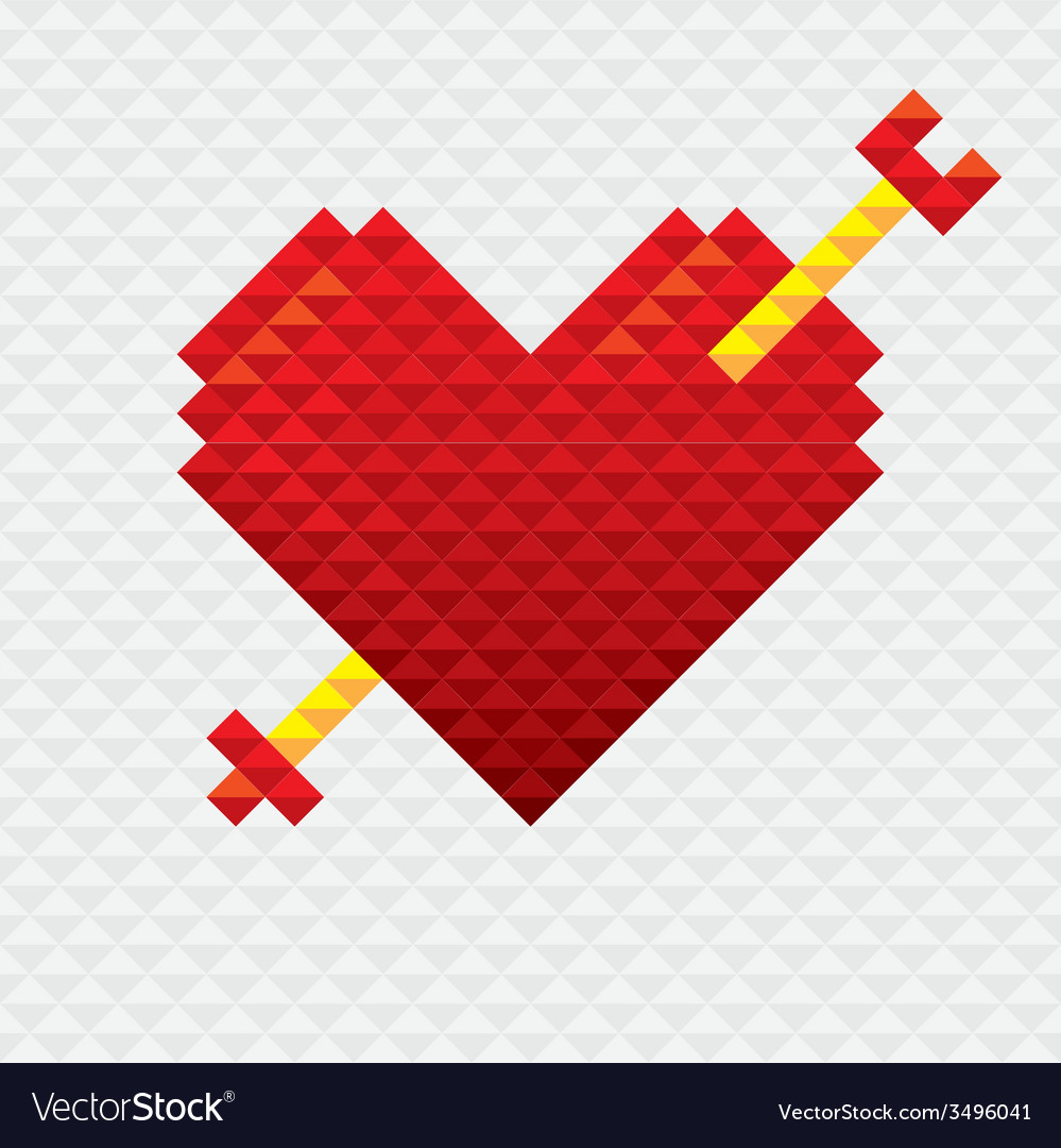 Heart shape with arrow mosaic style vector | Price: 1 Credit (USD $1)