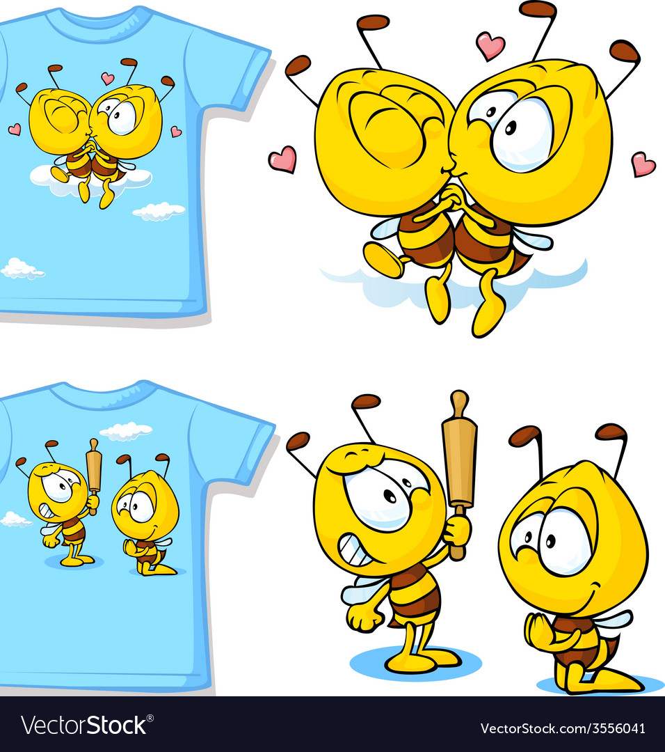 Kid shirt with cute bees - isolated on white back vector | Price: 1 Credit (USD $1)