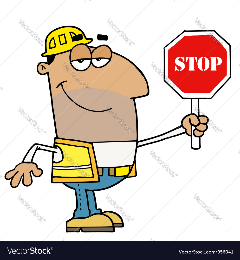 Male hispanic traffic director holding a stop sign vector | Price: 1 Credit (USD $1)