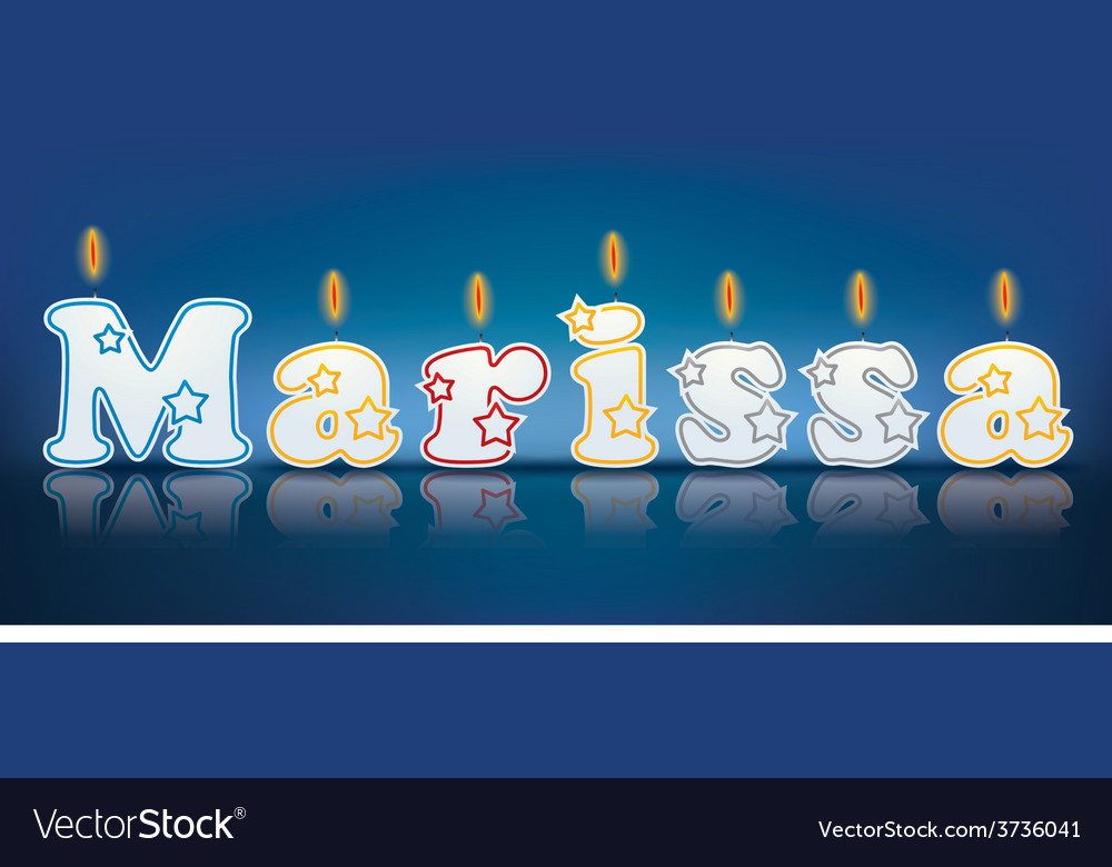 Marissa written with burning candles vector | Price: 1 Credit (USD $1)