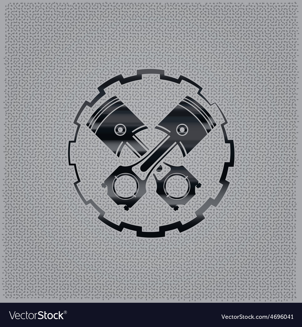 Pistons in a gear on metal background vector | Price: 1 Credit (USD $1)