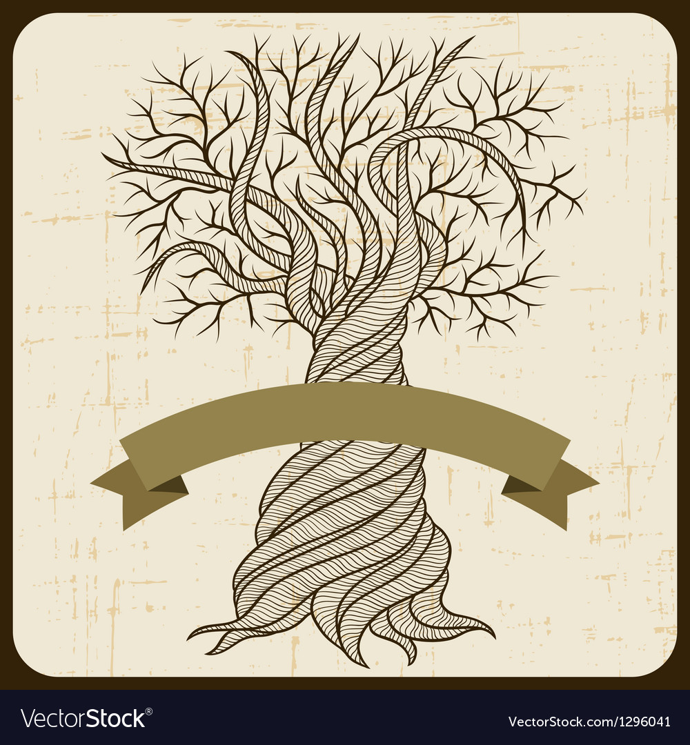 Retro card with abstract curling tree vector | Price: 1 Credit (USD $1)