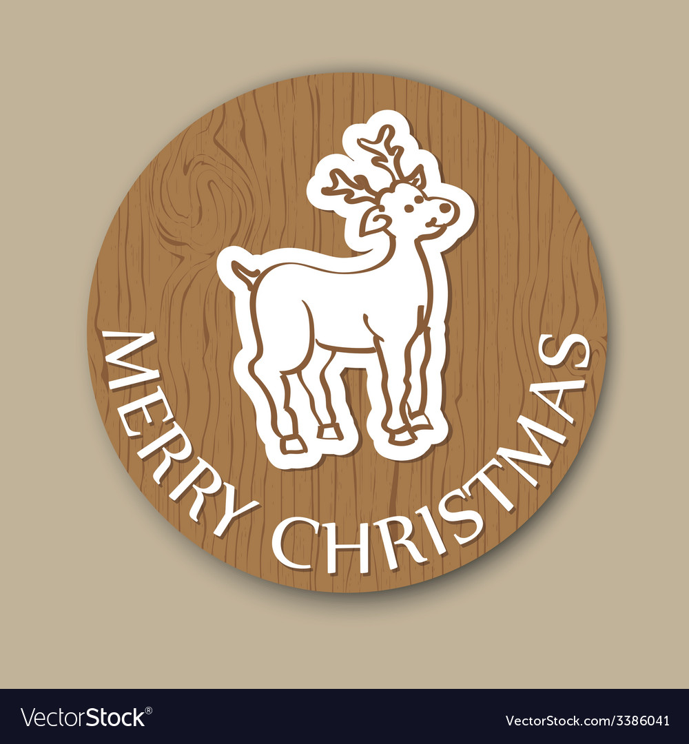 Round cristmas woody greeting with deer vector | Price: 1 Credit (USD $1)