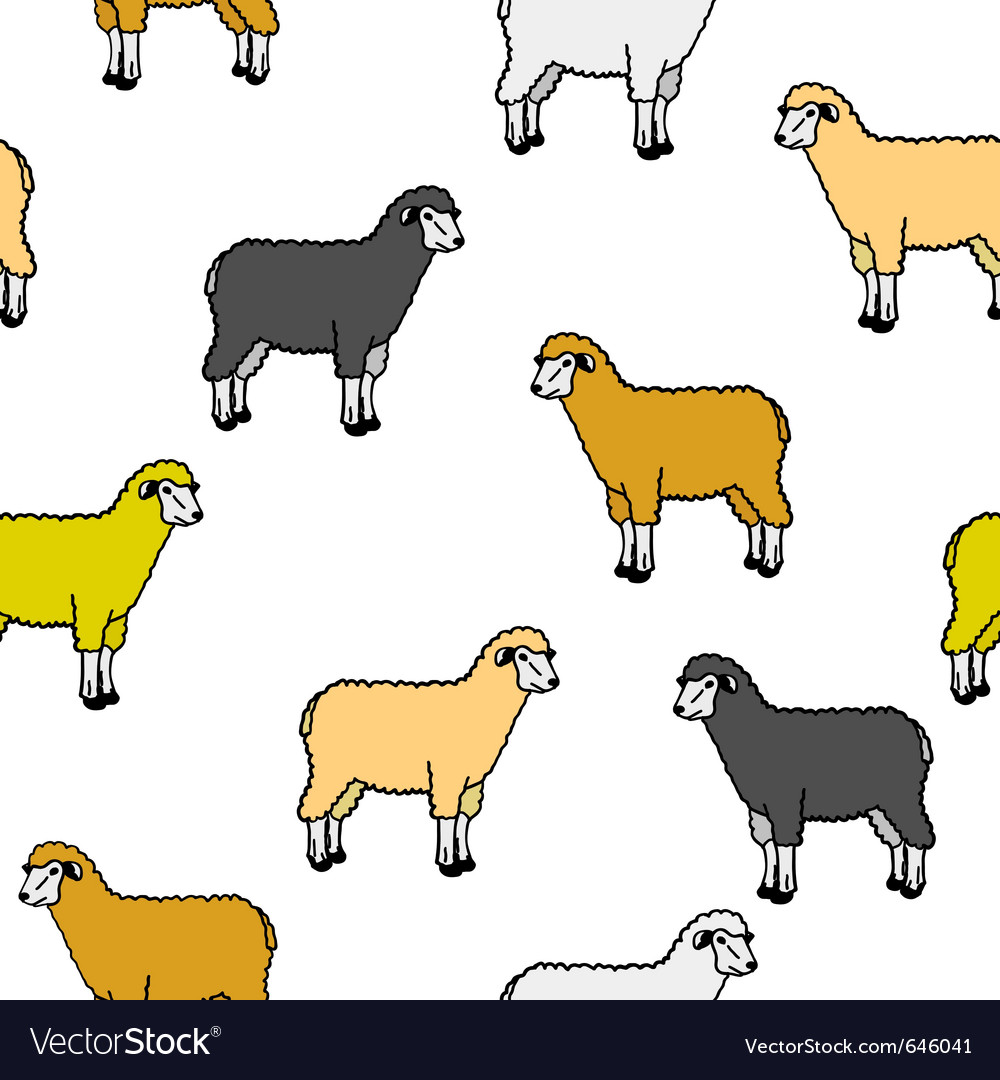 Seamless wallpaper with sheep and rams vector | Price: 1 Credit (USD $1)