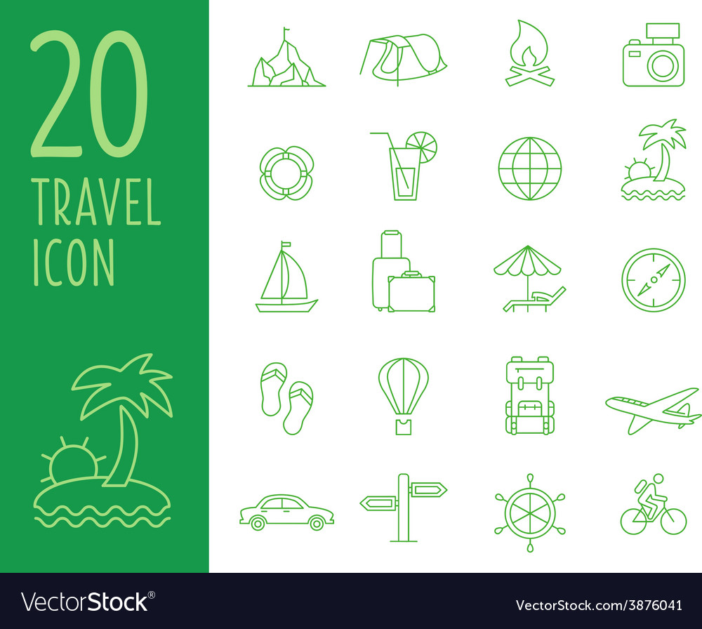 Set of green travel icons travel icons in vector | Price: 1 Credit (USD $1)
