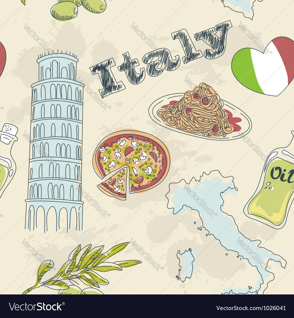 Taly travel grunge seamless pattern vector | Price: 1 Credit (USD $1)