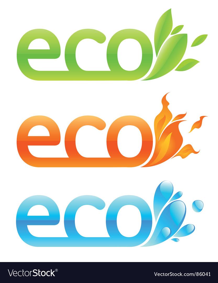 Three eco emblems vector | Price: 1 Credit (USD $1)