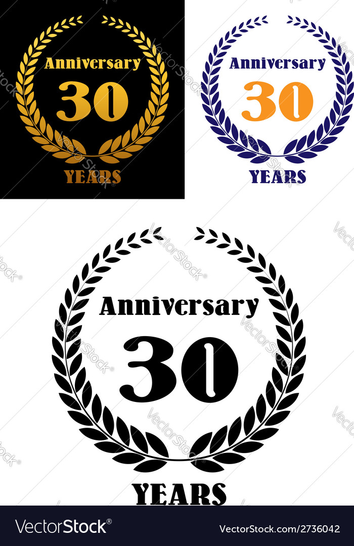 Anniversary jubilee symbol with laurel wreth vector | Price: 1 Credit (USD $1)