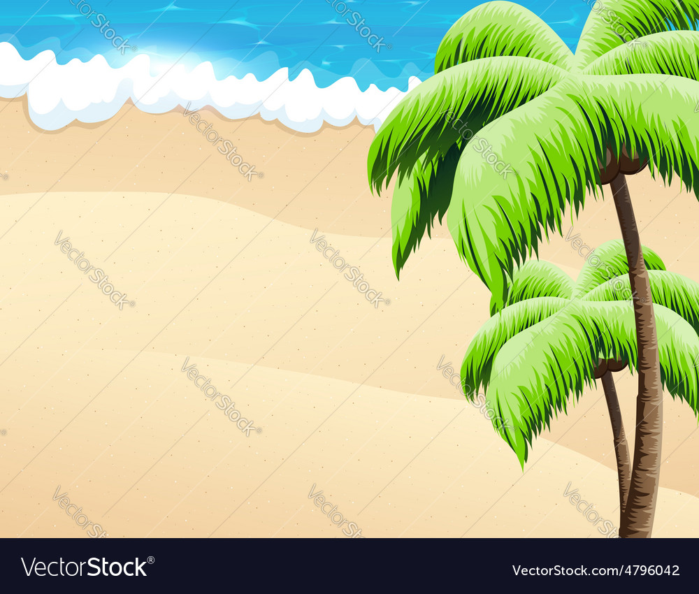 Beach with palm trees vector | Price: 3 Credit (USD $3)