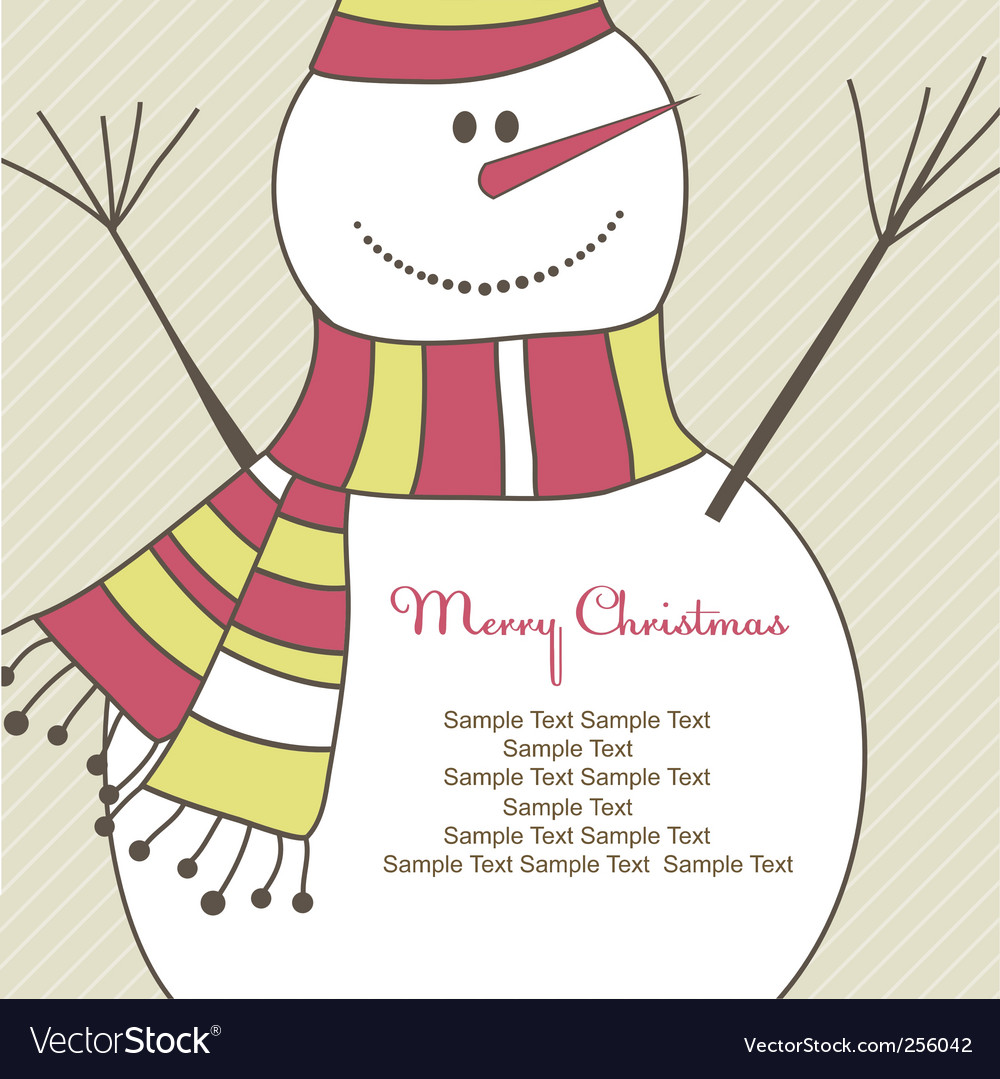 Christmas card with snowman illustration vector | Price: 1 Credit (USD $1)