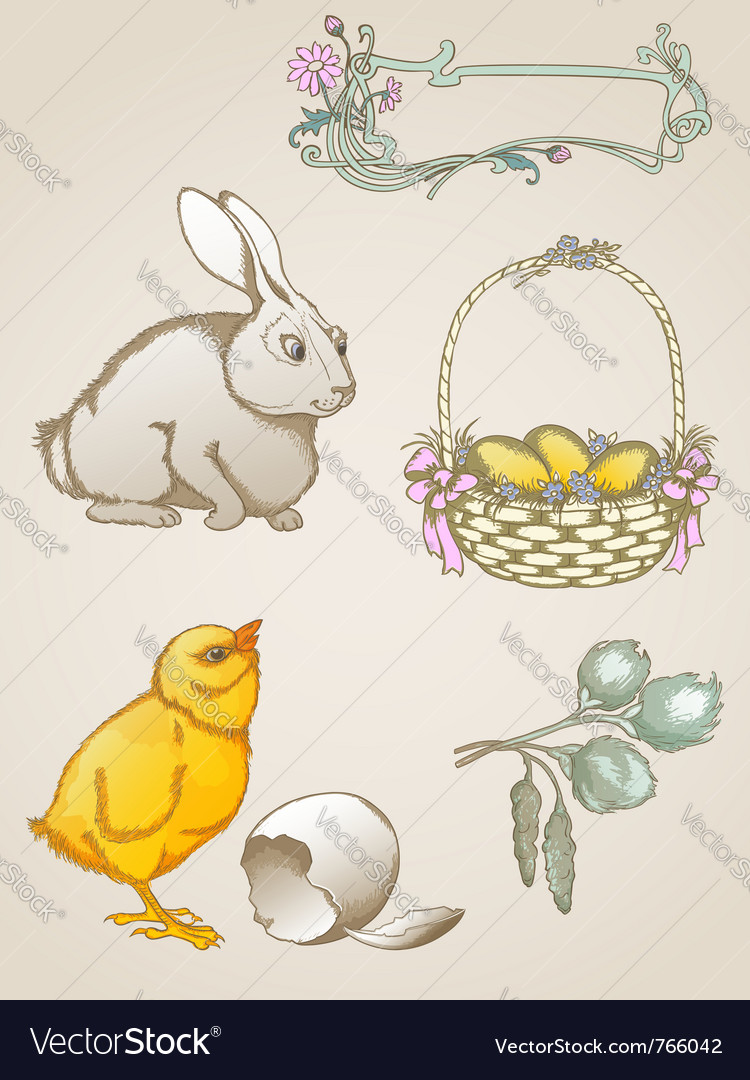 Hand drawn easter symbols vector | Price: 3 Credit (USD $3)