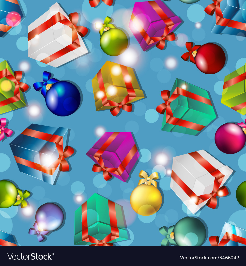New year pattern with gifts and christmas tree vector   Price: 1 Credit (USD $1)