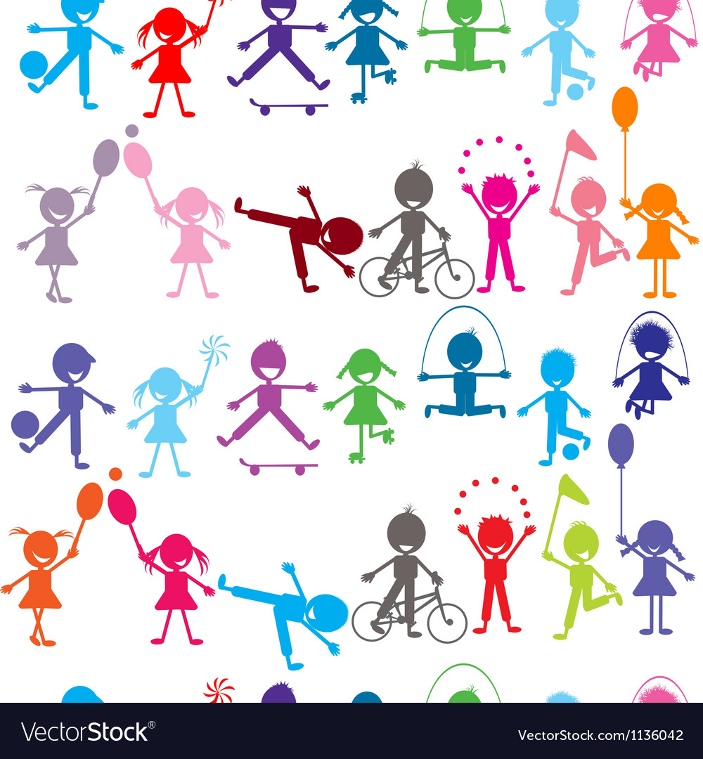 Seamless background with stylized colored kids vector | Price: 1 Credit (USD $1)