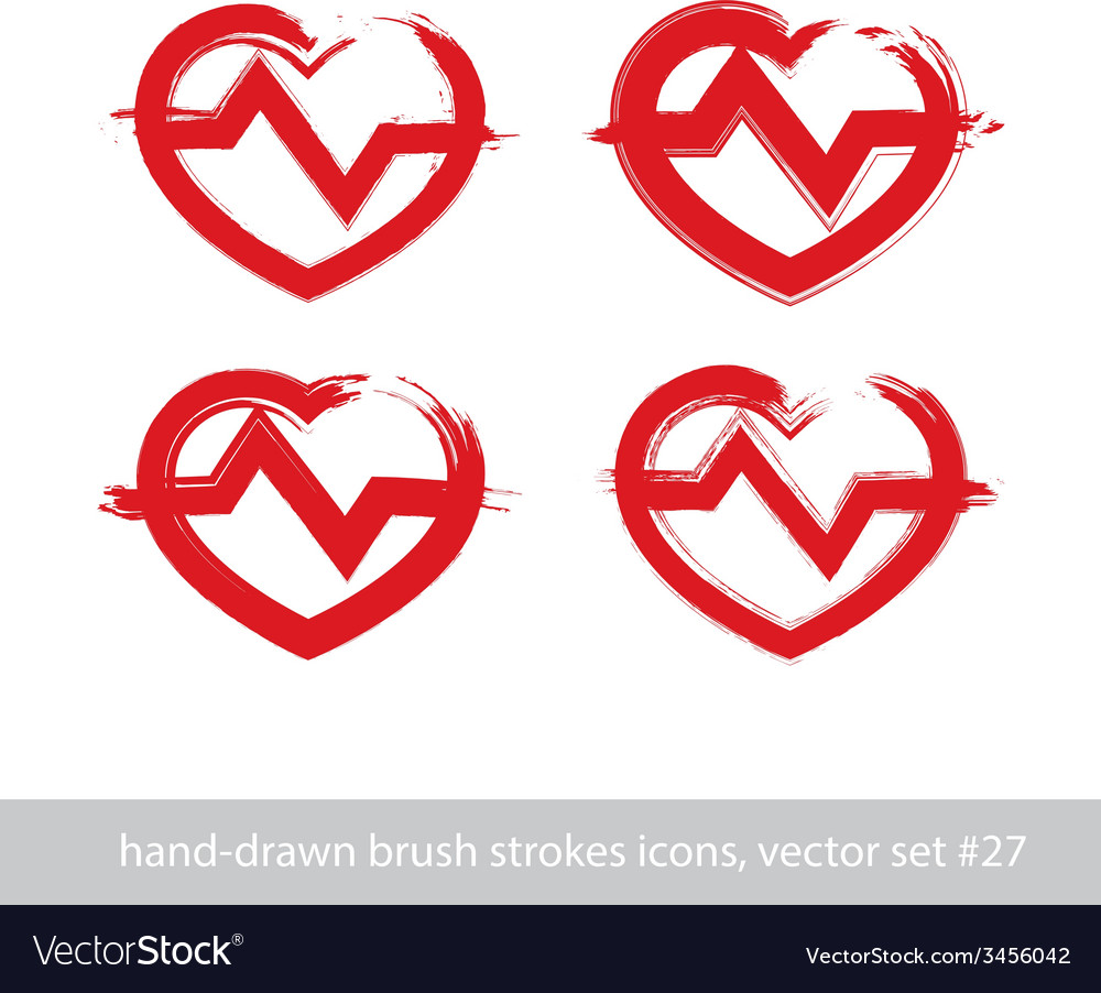Set of hand-drawn stroke red heart icons vector | Price: 1 Credit (USD $1)