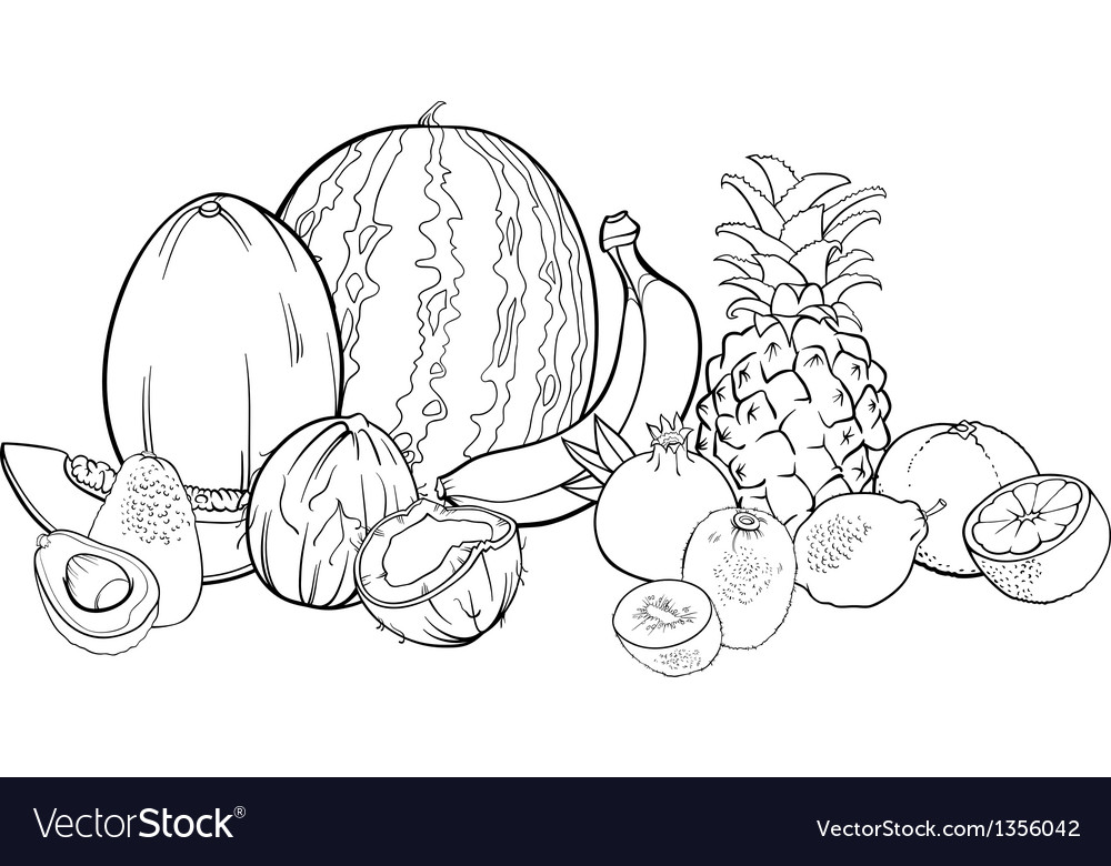 Tropical fruits for coloring book vector | Price: 1 Credit (USD $1)