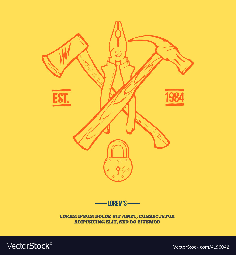 Vintage carpentry tools labels and design elements vector | Price: 1 Credit (USD $1)