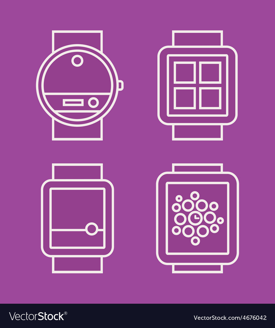 Wrist watch phone flat white line drawn icon vector | Price: 1 Credit (USD $1)