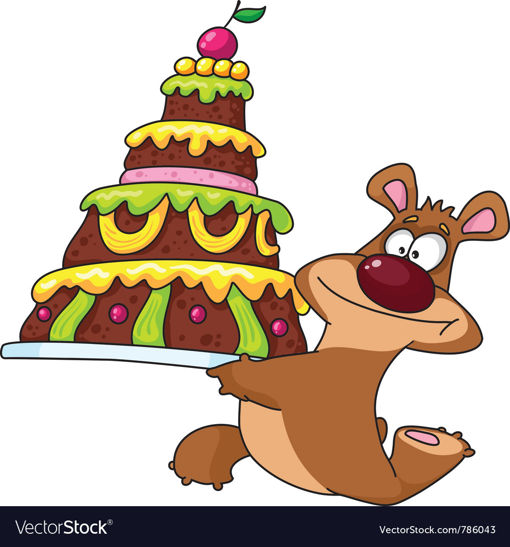 Bear and cake vector | Price: 1 Credit (USD $1)