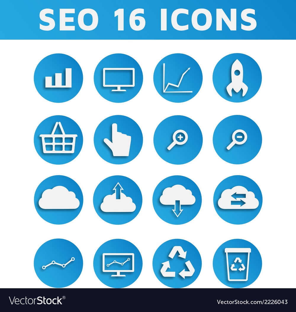 Blue seo business icons set with computer graph vector | Price: 1 Credit (USD $1)