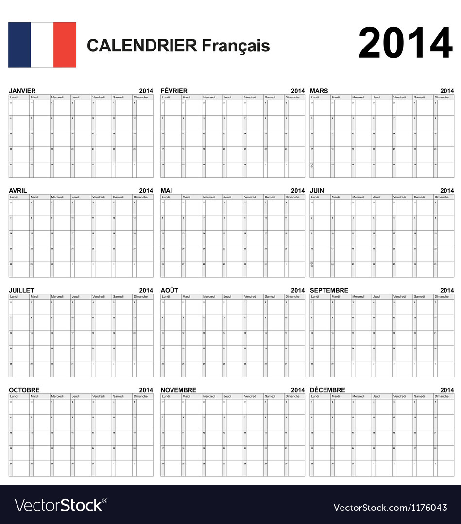 Calendar 2014 french type 22 vector | Price: 1 Credit (USD $1)