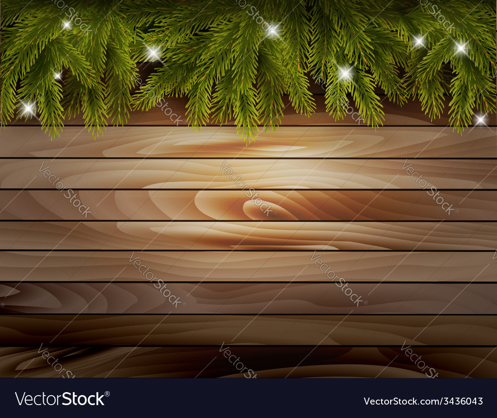 Christmas wooden background with branches and vector | Price: 1 Credit (USD $1)