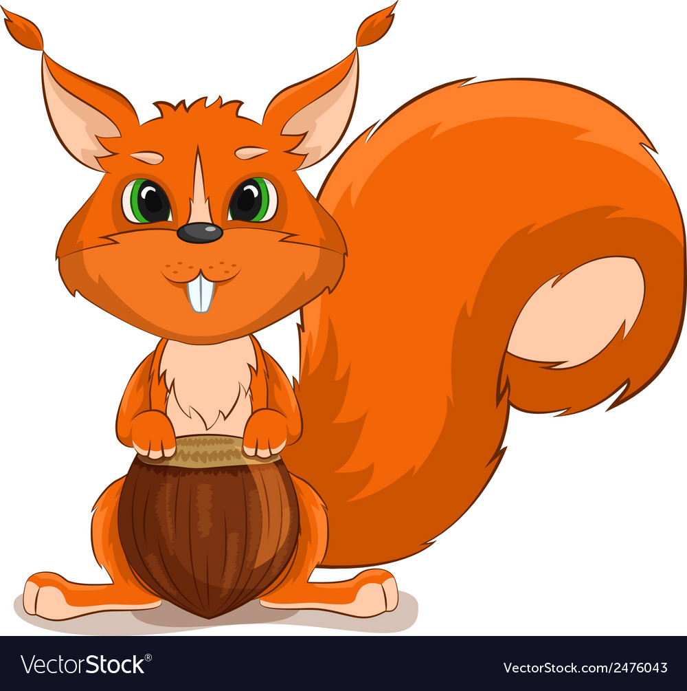 Cute character squirrel with nuts vector | Price: 1 Credit (USD $1)