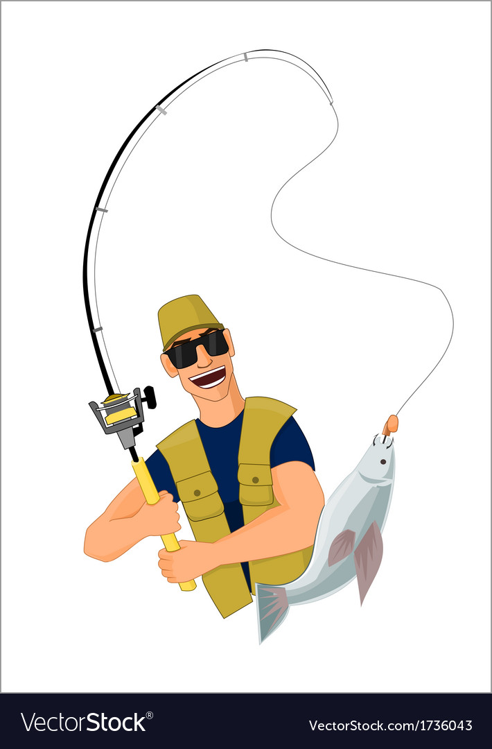 Fisherman caught a fish vector | Price: 1 Credit (USD $1)