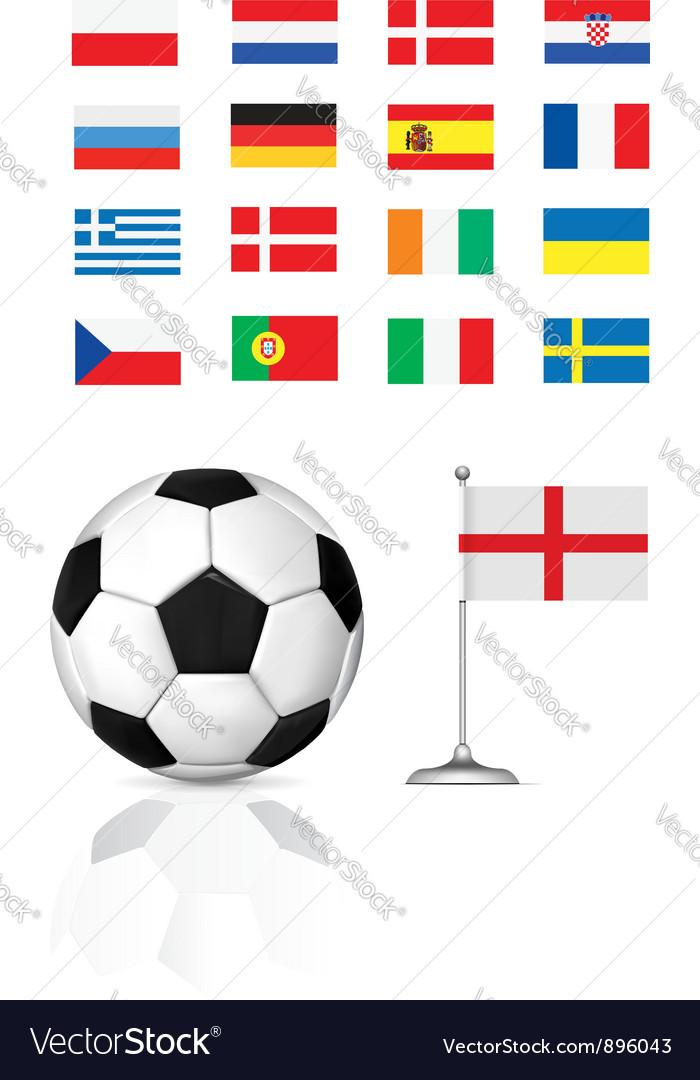 Football ball and flag vector | Price: 1 Credit (USD $1)